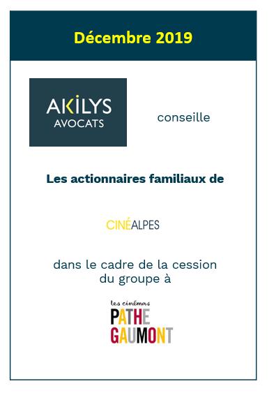 Akilys a assisté le Groupe CinéAlpes dans la cession de 100% de son capital à Pathé Gaumont