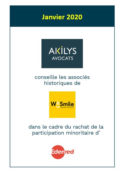 Akilys a accompagné  Wiismile dans le cadre du rachat de la participation minoritaire d'Edenred