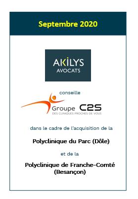 Akilys conseille le groupe C2S dans le cadre de l'acquisition de la Polyclinique de Franche-Comté (Besançon)