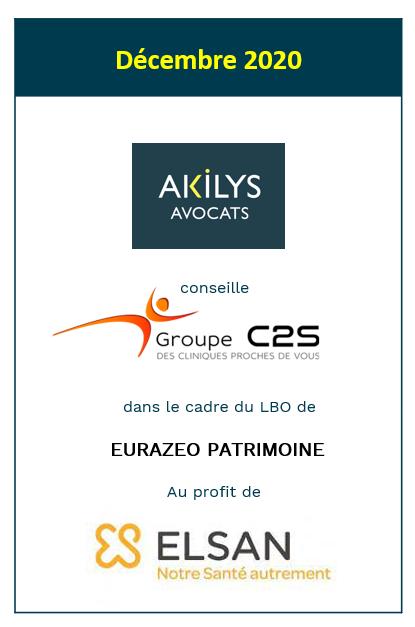 Akilys a conseillé le groupe C2S dans le cadre du LBO de Eurazeo Patrimoine au profit de Elsan